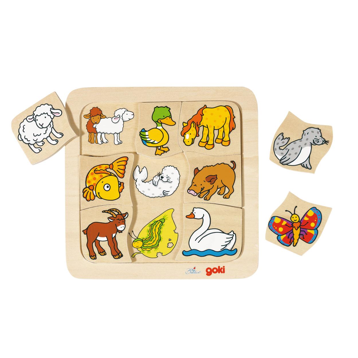 Goki vormenpuzzel 9 stuks