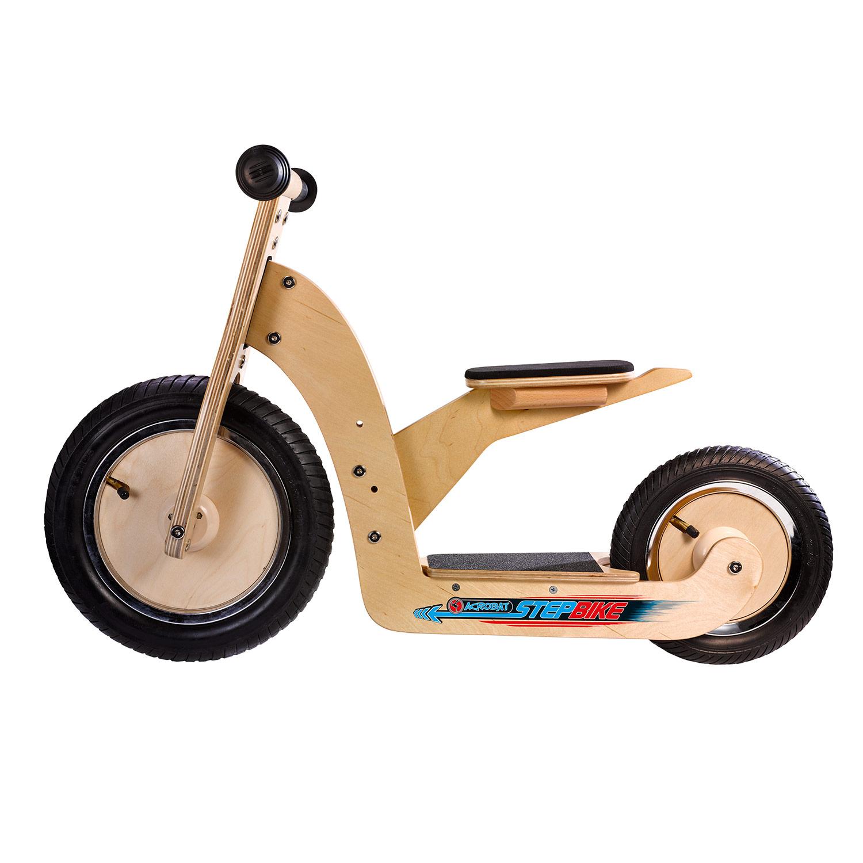 Acrobat houten stepbike, 2in1