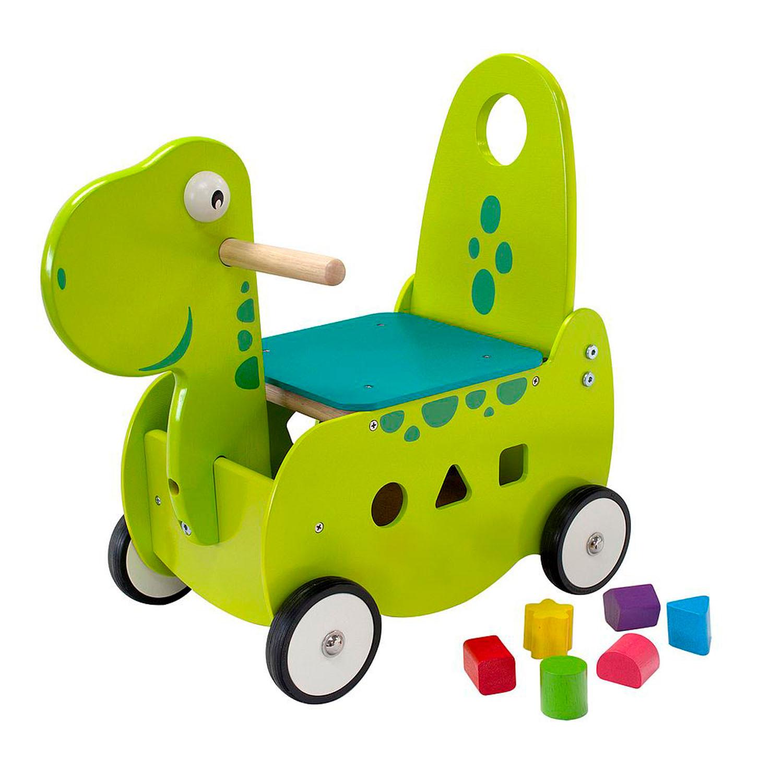 Houten loopwagen, houten dino, houten loopwagen dino