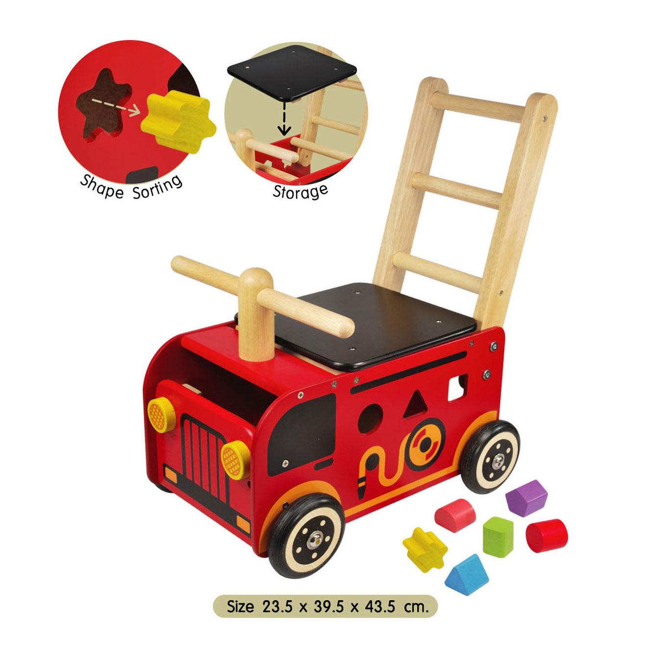 houten brandweerwagen met insteekblokken