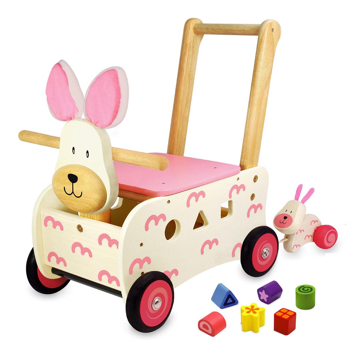 Houten loopwagen konijn