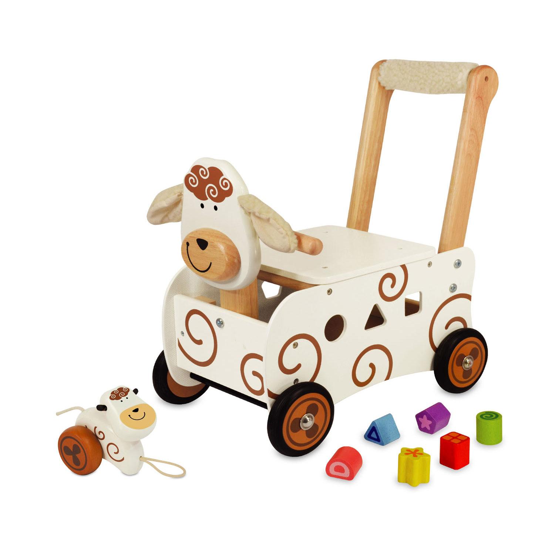 Loopwagen met trekfiguurtje schaap
